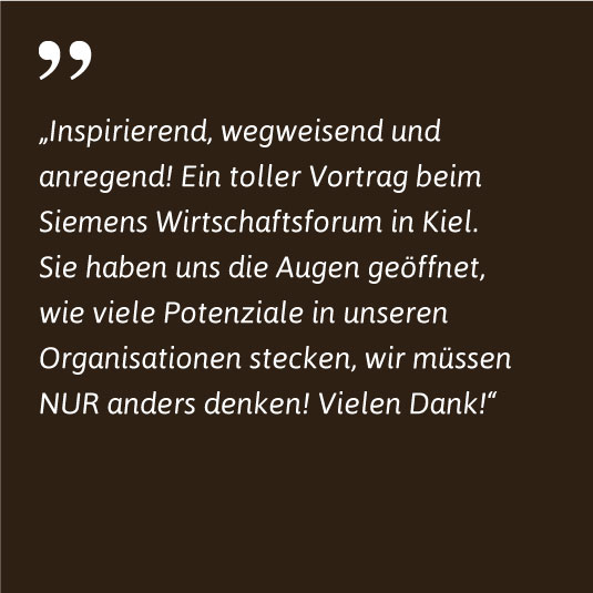 Siemens Kiel über Markus Reimer Keynote Speaker Redner Vortrag Innovation Agilität Qualität Wissen