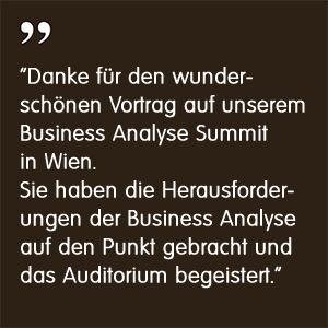 Business Analysis Summit 2017 Wien Markus Reimer Keynote Speaker Redner Referent Vortrag Innovation Agilität Qualität Wissen